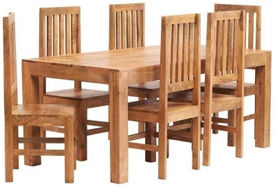 Indian Hub Toko Light Mango Large Dining Table and Wooden Chairs