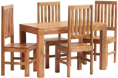 Indian Hub Toko Light Mango Small Dining Set with 4 slat Back Chairs