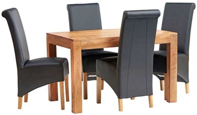 Indian Hub Toko Light Mango Small Dining Table and Leather Chairs