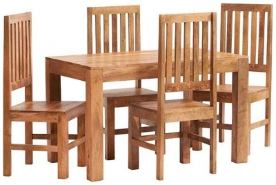 Indian Hub Toko Light Mango Small Dining Table and Wooden Chairs
