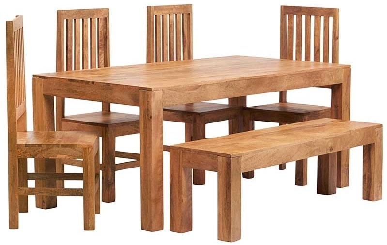 Indian Hub Toko Light Mango Dining Set with 4 Slatted Back Chairs and Bench - 180cm