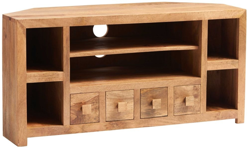 Indian Hub Toko Light Mango 4 Drawer Corner TV Unit