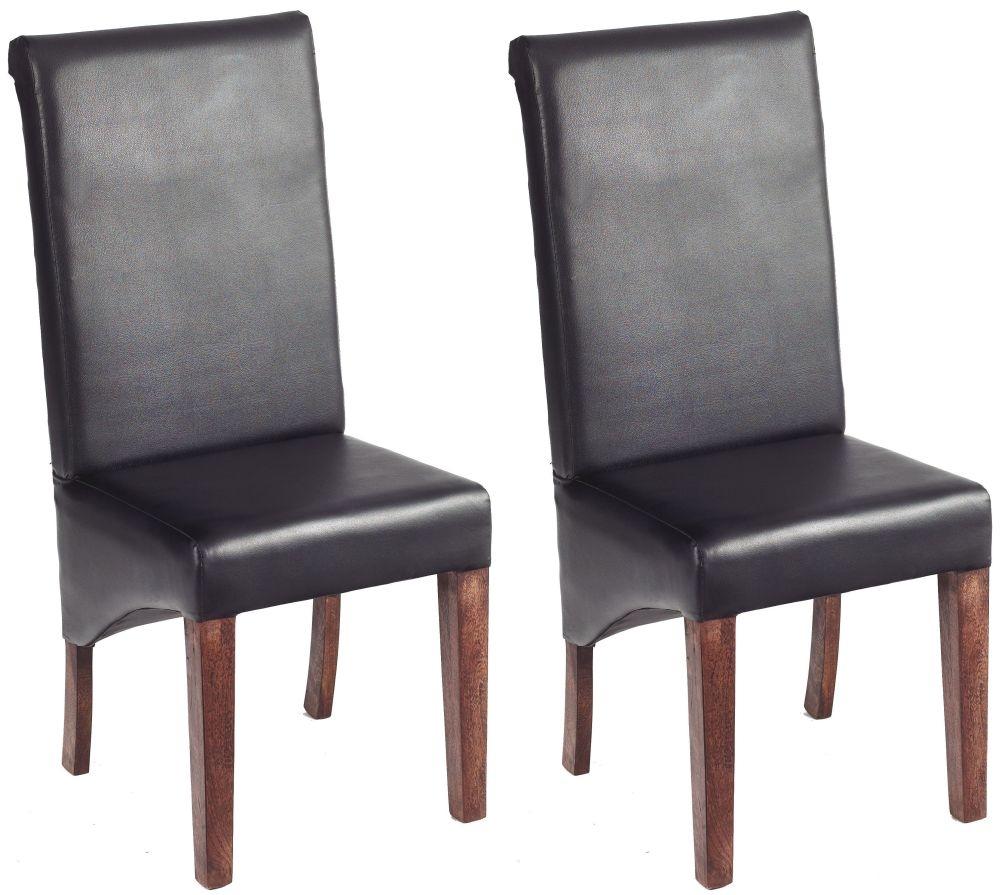 Indian Hub Toko Light Mango Leather Dining Chair (Pair)