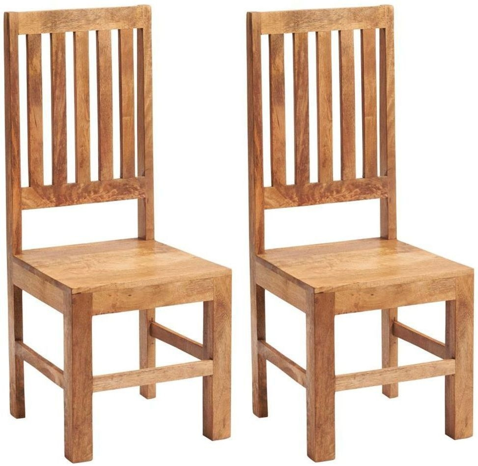 Indian Hub Toko Light Mango Slat Back Dining Chair(Pair)