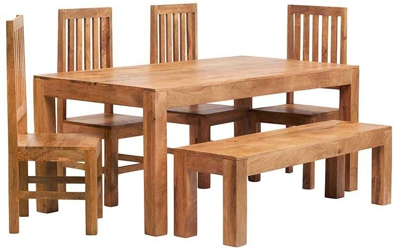 Indian Hub Toko Light Mango Small Dining Set with Bench and 4 Slatted Chairs