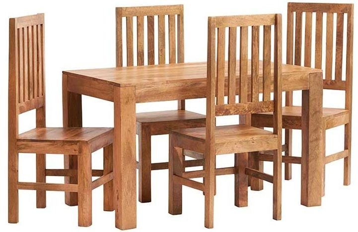 Indian Hub Toko Light Mango Small Dining Set with Wooden Chairs