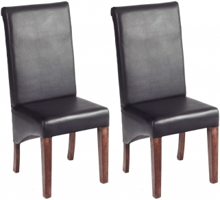 Indian Hub Toko Mango Dining Chair - Leather (Pair)