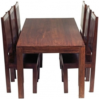 Indian Hub Toko Mango Dining Set - Large 6ft with 6 High Slat Back Chairs