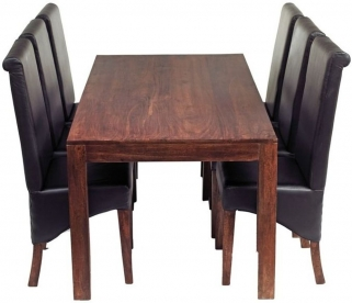 Indian Hub Toko Mango Dining Set - Large 6ft with 6 Leather Chairs