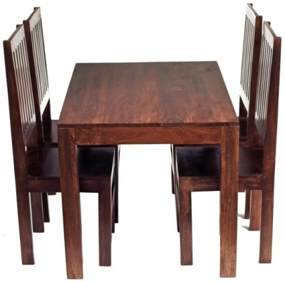 Indian Hub Toko Mango Dining Set - Small 4ft with 4 High Slat Back Chairs