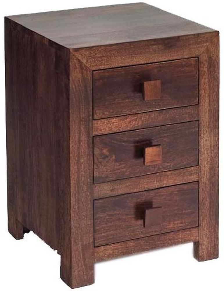 Indian Hub Toko Mango Bedside Cabinet - 3 Drawer