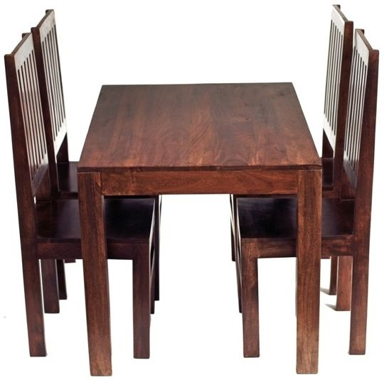 Indian Hub Toko Mango Dining Set with 4 High Back Slatted Back Chairs - 120cm