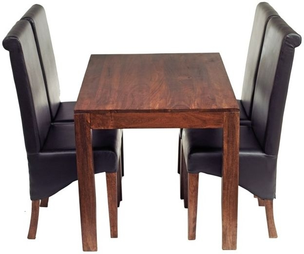 Indian Hub Toko Mango Dining Set with 4 Leather Chairs - 120cm