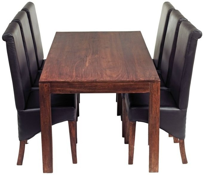 Indian Hub Toko Mango Large Dining Table and 6 Leather Chairs