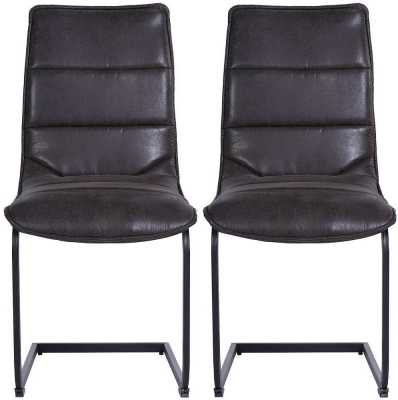 Indus Valley Sachi Suede Faux Leather Dining Chair (Pair)