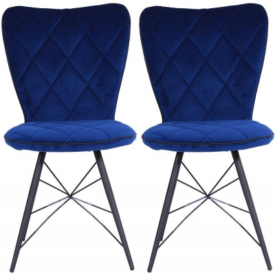 Indus Valley Shiv Blue Velvet Fabric Dining Chair (Pair)