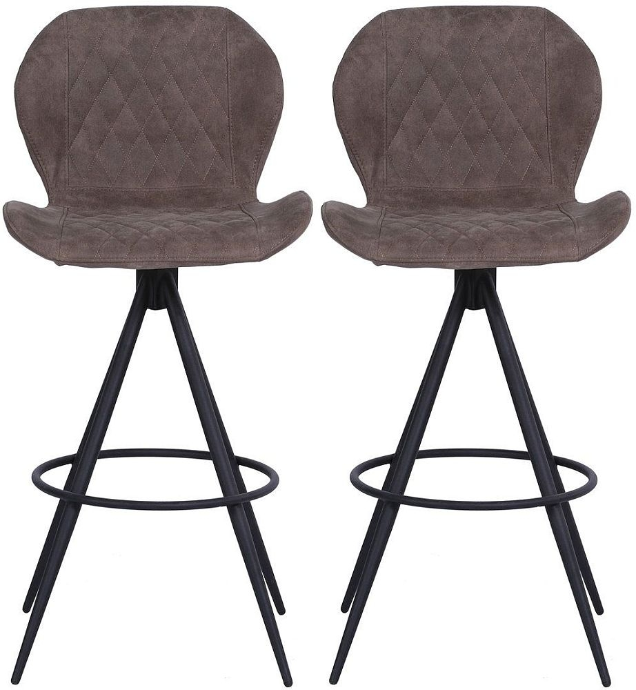 Indus Valley Aston Suede Faux Leather Bar Stool (Pair)