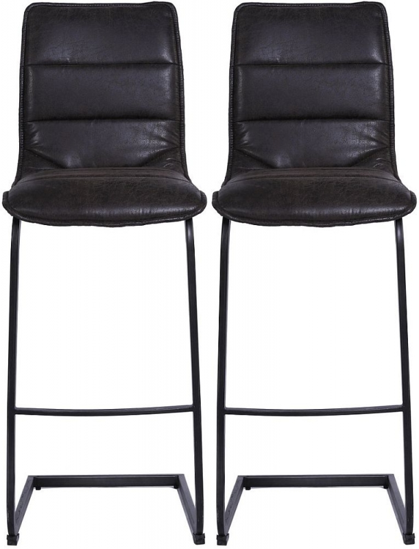 Indus Valley Sachi Suede Faux Leather Bar Stool (Pair)