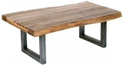 Indus Valley Live Edge Industrial Coffee Table - Solid Acacia Wood and Iron