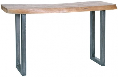 Indus Valley Live Edge Industrial Console Table - Solid Acacia Wood and Iron