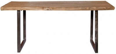 Indus Valley Live Edge Industrial Dining Table - Solid Acacia Wood and Iron