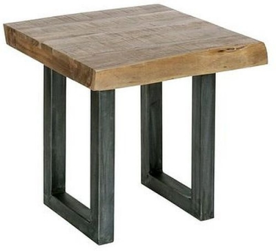 Indus Valley Live Edge Industrial Lamp Table - Solid Acacia Wood and Iron