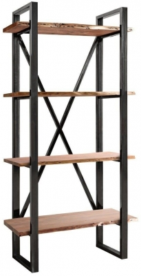 Indus Valley Live Edge Industrial Shelving Unit - Solid Acacia Wood and Iron
