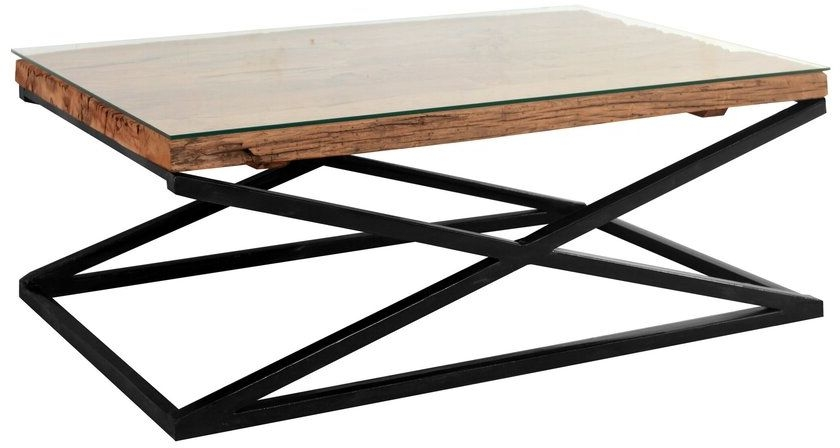 Indus Valley Phoenix Industrial Glass Top Coffee Table - Reclaimed Sleeper Wood and Iron