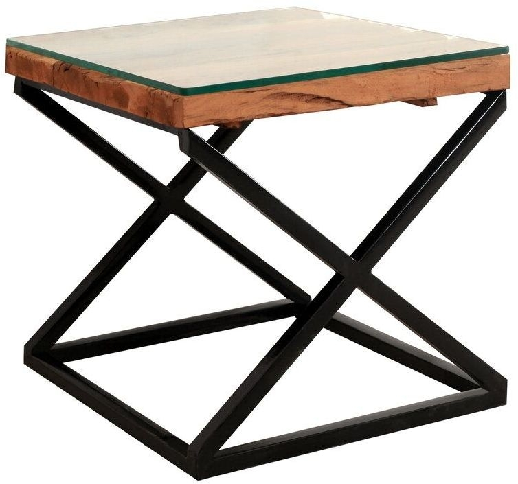 Indus Valley Phoenix Industrial Glass Top Lamp Table - Reclaimed Sleeper Wood and Iron