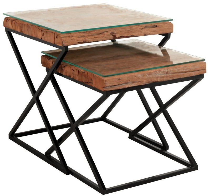 Indus Valley Phoenix Industrial Glass Top Nest of 2 Tables - Reclaimed Sleeper Wood and Iron