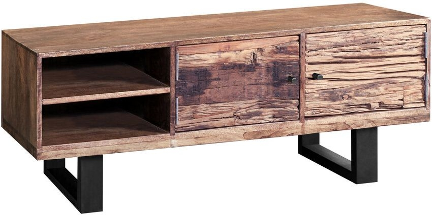 Indus Valley Phoenix Industrial TV Unit - Reclaimed Sleeper Wood and Iron