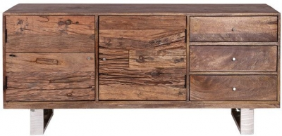 Indus Valley Railway Sleeper Industrial Sideboard - Reclaimed Wood and Stainless Steel