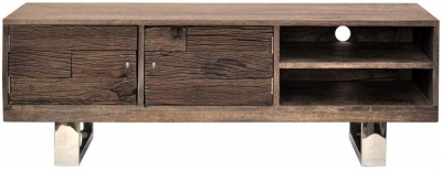 Indus Valley Railway Sleeper Industrial TV Cabinet - Reclaimed Wood and Stainless Steel