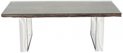 Indus Valley Railway Sleeper Industrial Glass Top Coffee Table - Reclaimed Wood and Stainless Steel