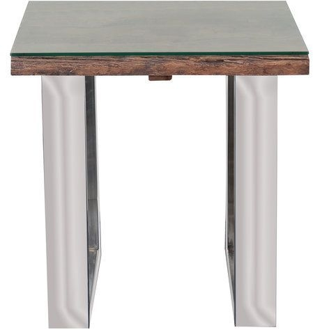 Indus Valley Railway Sleeper Industrial Glass Top Lamp Table - Reclaimed Wood and Stainless Steel