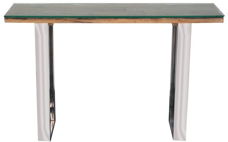 Indus Valley Railway Sleeper Industrial Glass Top Console Table - Reclaimed Wood and Stainless Steel