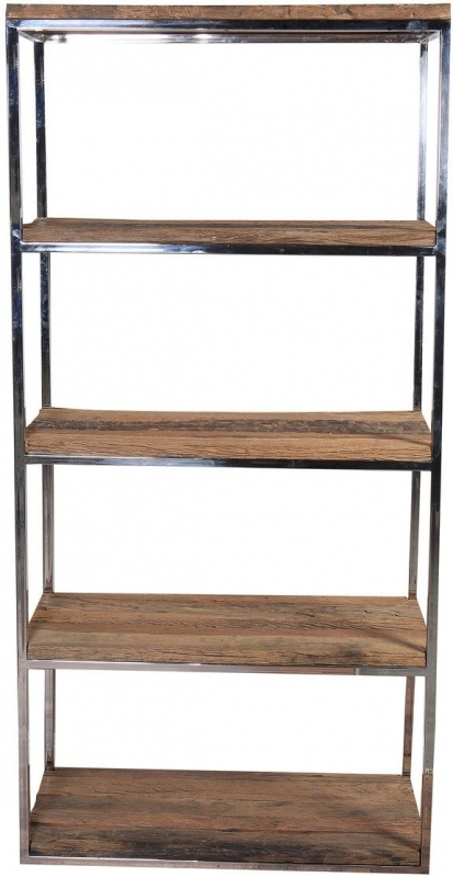 Indus Valley Railway Sleeper Industrial Shelving Unit - Reclaimed Wood and Stainless Steel
