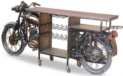 Jaipur Wow Mango Wood and Metal Frame Long Bar Stand