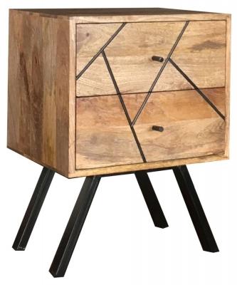 Jaipur Amar Bedside Cabinet - Mango Wood and Iron