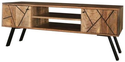 Jaipur Amar Mango Wood Plazma TV Unit with Iron Base