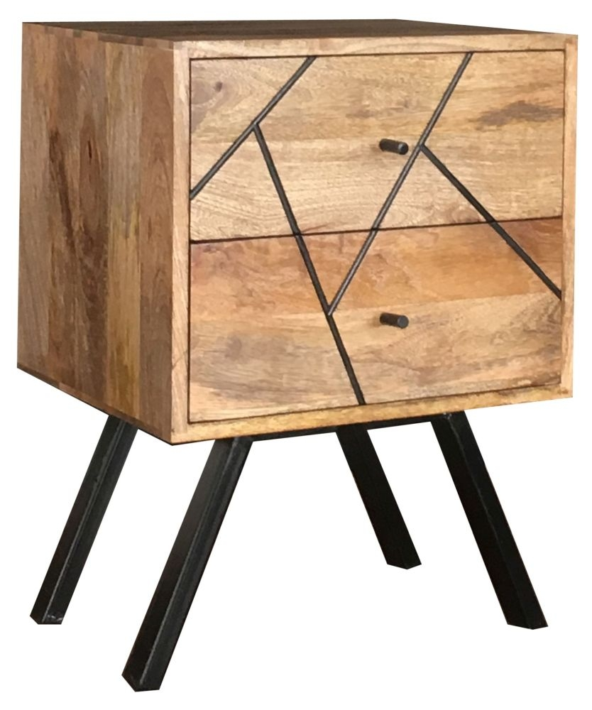 Jaipur Amar Mango Wood 2 Drawer Bedside Cabinet with Iron Base
