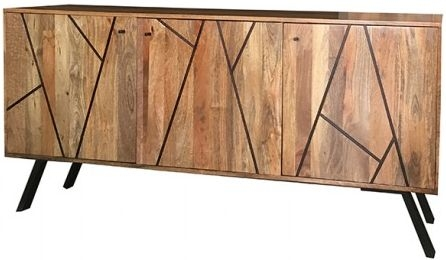Jaipur Amar Mango Wood 3 Door Wide Sideboard with Iron Base