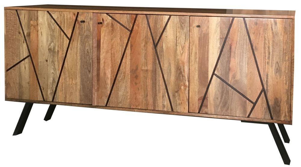 Jaipur Amar Mango Wood 3 Door Wide Sideboard with Iron Base