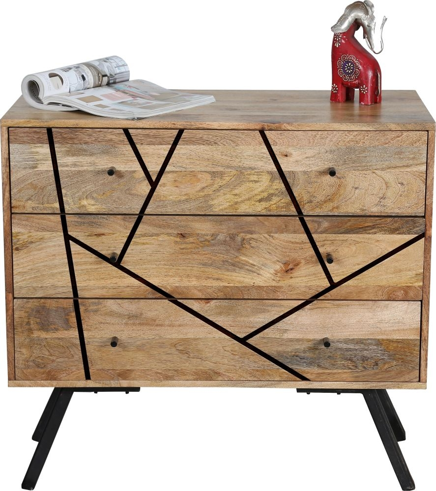 Jaipur Amar Mango Wood and Iron 3 Drawer Chest