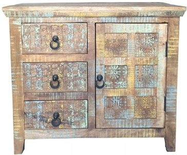 Jaipur Aravali Mango Wood 1 Door 3 Drawer Medium Sideboard