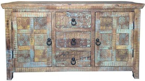 Jaipur Aravali Mango Wood 1 Door 3 Drawer Small Sideboard