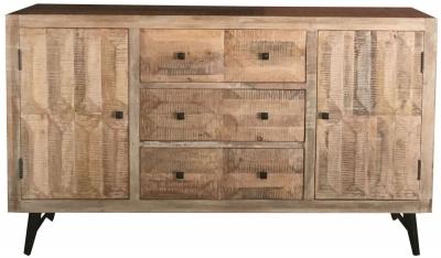 Jaipur Buddha Mango Wood 2 Door 3 Drawer Wide Sideboard with Iron Base