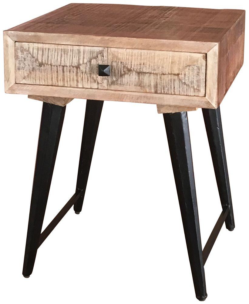Jaipur Buddha Mango Wood Side Table 1 Drawer with Iron Base