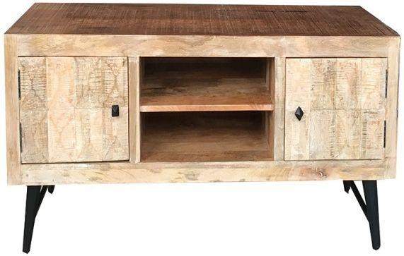 Jaipur Buddha Mango Wood 2 Door TV Cabinet with Iron Base