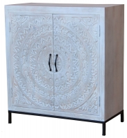 Jaipur Chennai Mango Wood 2 Door Narrow Sideboard with Iron Base